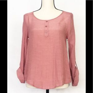 MINE Pink and Lace S Strappy Blouse